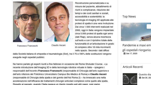Protesi di spalla: «recuperato il gap, Italia oggi leader a livello globale»